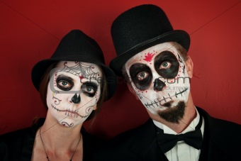 Couple in Skull Makeup