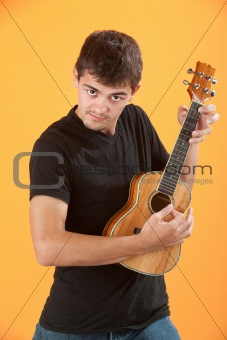 Serious Teen ukulele player