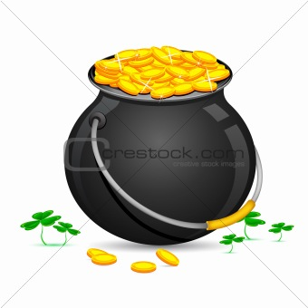 Gold Coin Pot of Saint Patrick Day