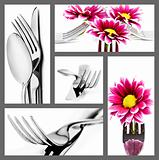 Collage of cutlery in different positions on white