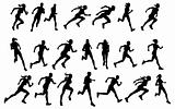 Runners running silhouettes