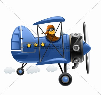 blue airplane with pilot