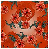 seamless spring pattern with hibiscus flowers and leaves