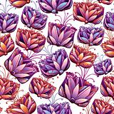 Beautiful flowers seamless pattern.