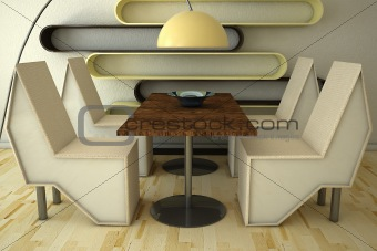 3d Chairs on table