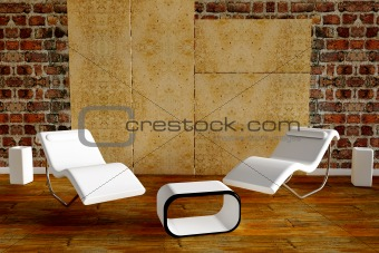 3d rendered armchair with vase