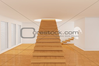 3d room with stairs