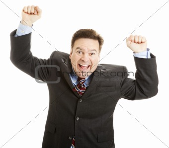 Businessman Cheering for Joy