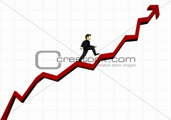 business man climbing a financial graph