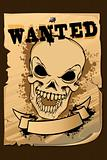 Vintage Wanted Poster with Skull