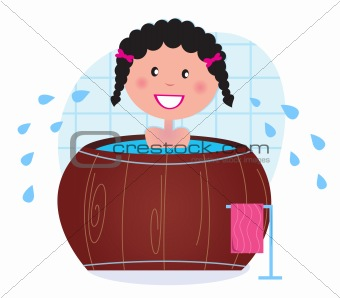 A woman soaking in whirlpool / cold barrel tub after sauna