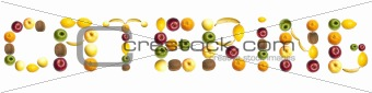 Catering word made of fruits