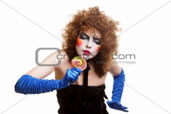 woman mime with theatrical makeup singing
