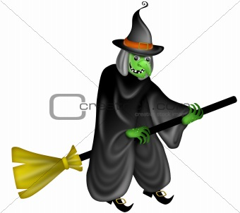 Halloween Witch Flying on Broom Stick