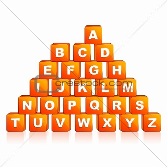 Pyramid of alphabet cube