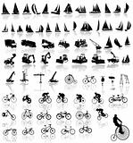 Vector illustration of bicycles, yachts  and Construction vehicles
