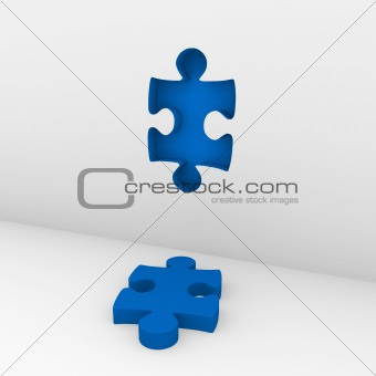 3d puzzle blue wall