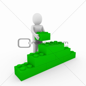3d human green wall stone
