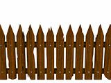 Wooden fence from crashed brown boards