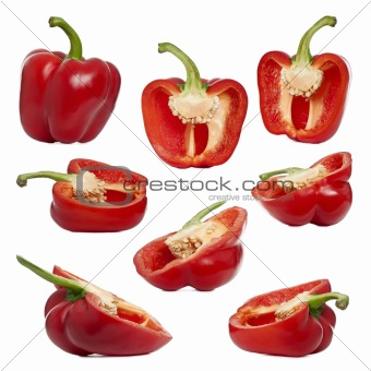 Sliced red peppers against white background
