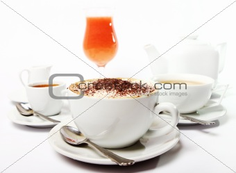 Breakfast table with beverges