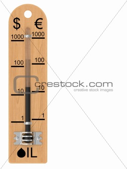 Oil price falling represented as a thermometer (vertical)