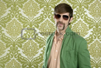geek retro salesperson man funny mustache