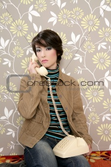 talking telephone retro woman on vintage wallpaper