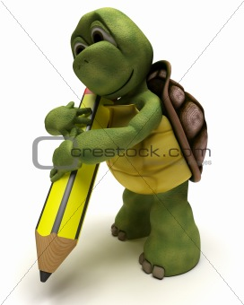Tortoise holding a pencil
