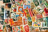 Pile of used post stamps from Soviet Union