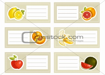 Back to school stickers with fruits