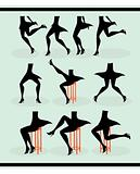 Ten woman legs silhouettes