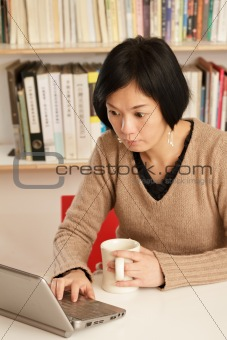 Woman working at home