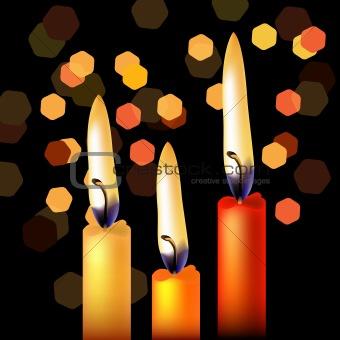 Three festive candles