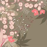 Floral background with contour flowers