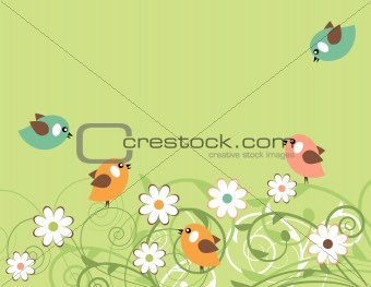 Blossoming branches and birds