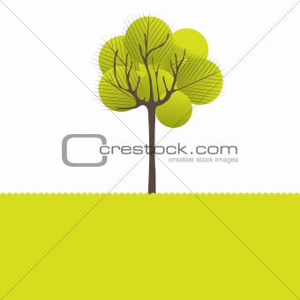 Abstract background with green tree .