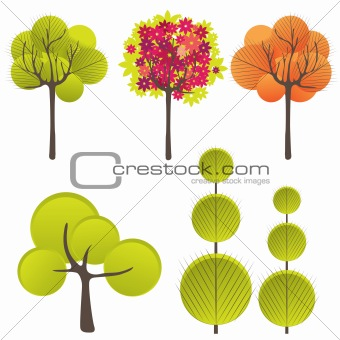 Abstract background with green tree and flowers.