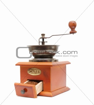 old wooden worm eaten coffee mill
