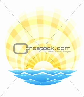 abstract landscape with sea waves and rising sun