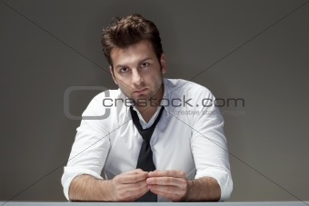 businessman in white shirt looking, thinking - isolated on gray
