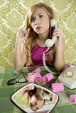 retro housewife telephone woman vintage wallpaper