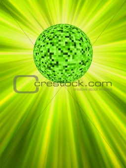 Sparkling green discoball. EPS 8