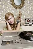 audiophile retro woman vinyl turntable music