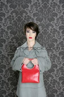 handbag red retro woman vintage fashion