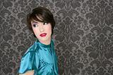 fashion retro red lips woman on gray wallpaper