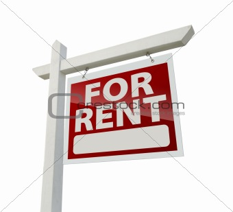 Right Facing For Rent Real Estate Sign Isolated on White with Clipping Path.