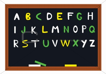 blackboard with alphabet