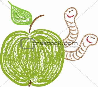 apple and funny worms