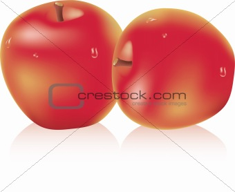 apples with water drops